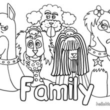 Desenho de uma família cachorro para colorir