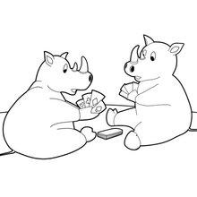 Dois rinocerontes cartas de baralho
