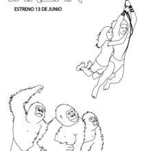 Tarzan e Jane com gorilas