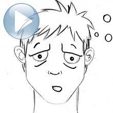 Desenhe uma expressão facial: fadiga
