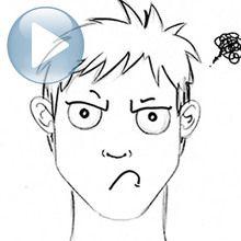 Desenhe uma expressão facial: um rosto mal-humorado