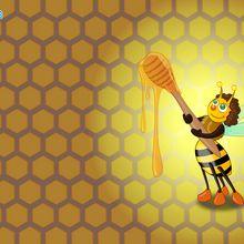 Abelha que prova um pouco de mel