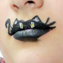 Maquiagem em lábios: gato preto