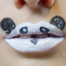 Maquiagem em lábios: panda