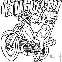 Abóbora andando de moto no Dia das Bruxas