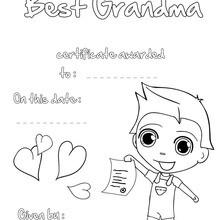 Certificado da melhor avó para colorir