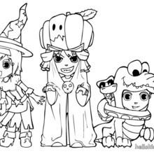 Desenho da Ana, do Teo e do Matias fantasiados no Dia das Bruxas para colorir