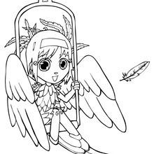 Desenho da Ana fantasiada de passarinho no Dia das Bruxas para colorir