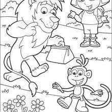 Desenho da Dora a Aventureira, Boots o macaco e do leão para colorir