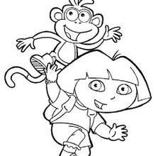 Desenho da Dora a Aventureira, com o seu melhor amigo para colorir