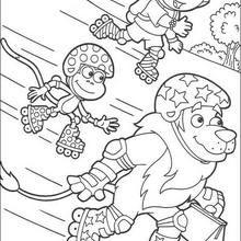 Desenho da Dora andando de skate com o Boots e o leão para colorir