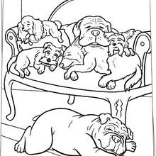 Desenho de cachorros dormindo para colorir