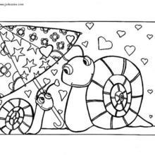 Desenho de dois Caracóis apaixonados para colorir