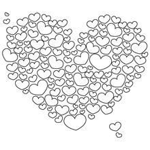 Desenho de para colorir de corações do dia dos namorados
