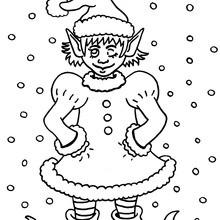 Desenho de um duende com a roupa do Papai Noel para colorir