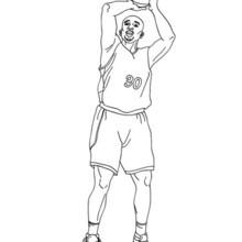 Desenho de um lance livre de basquete para colorir
