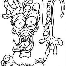 Desenho de um monstro-dragão assustador para colorir