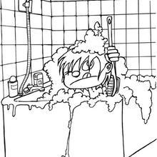 Desenho de uma banheira cheia de espuma para colorir
