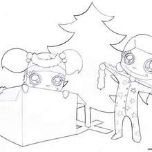 Desenho de uma manhã de Natal para colorir