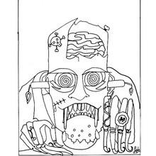 Desenho de uma máscara horripilante do Dia das Bruxas para colorir