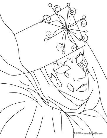 Desenhos Para Colorir De Desenho De Uma Mascara Veneziana Com