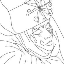 Desenho de uma máscara veneziana com lágrimas para colorir