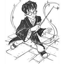 Desenho do Harry Potter com sua varinha mágica para colorir