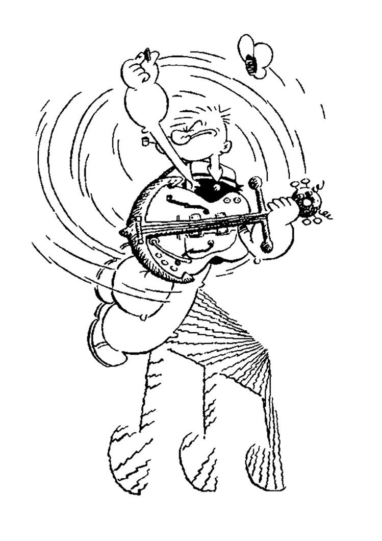 Desenhos Para Colorir De Desenho Do Marinheiro Popeye Tocando