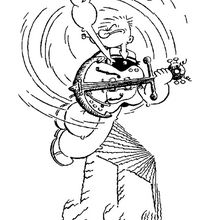 Desenho do marinheiro Popeye tocando violão para colorir