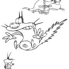 Desenho do Oggy com Deedee e Jack para colorir