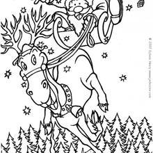 Desenho do Papai Noel com seu trenó para colorir