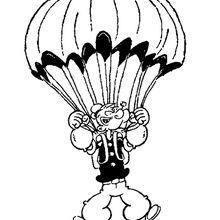 Desenho do Popeye de Pára-quedas para colorir
