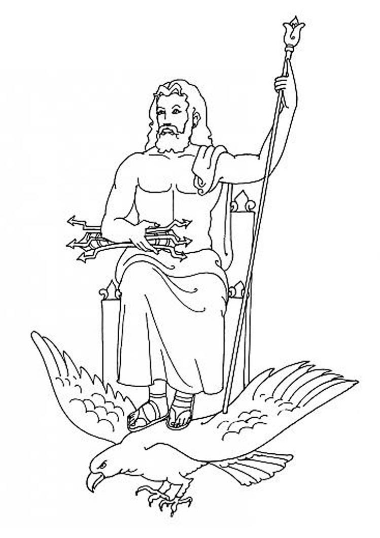 Desenho do ZEUS o deusdo Olimpo para colorir