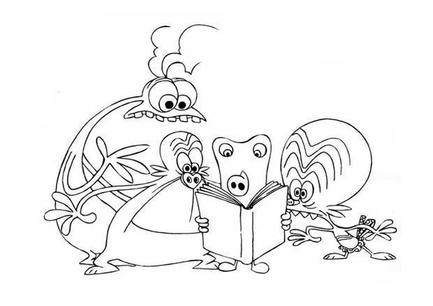 desenhos para colorir de desenho dos space goofs lendo um livro para