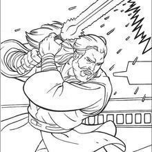 O Jedi Qui-Gon Jinn com sua espada a laser