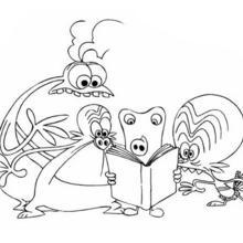 Desenho dos Space Goofs lendo um livro para colorir