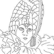 Desenho de um Arlequim Veneziano para colorir