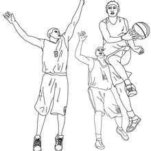 Desenho de um jogo de basquete para colorir