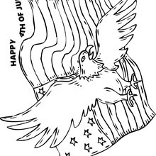 A águia-de-cabeça-branca e a bandeira dos EUA