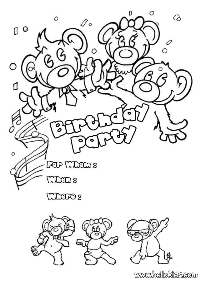 Convites De Aniversario Para Colorir Desenhos Para Colorir
