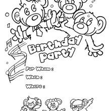 Convite de aniversário : ursos