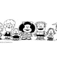 Desenho da Mafalda com seus amigos para colorir
