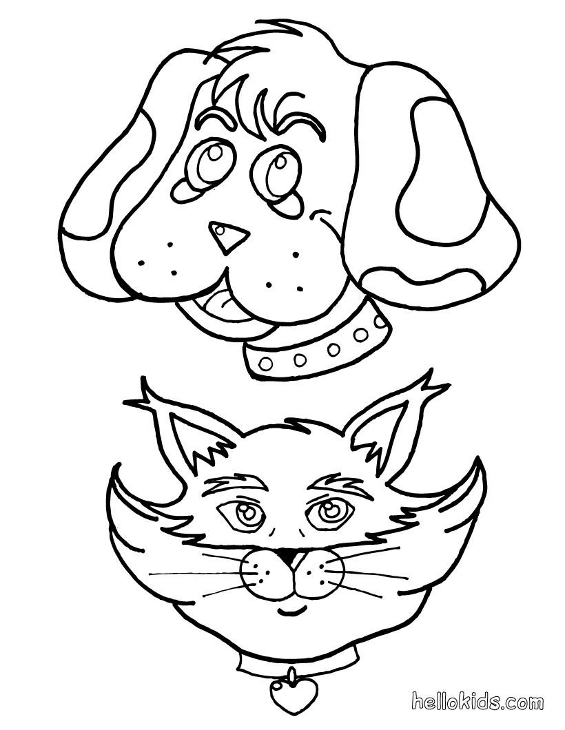 desenhos para colorir de desenho de um cão com um gato para colorir