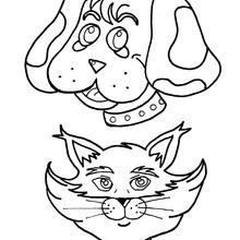 Desenho de um cão com um gato para colorir