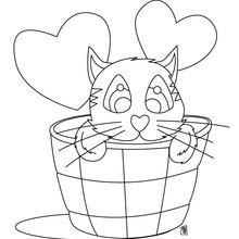 Desenho de um gato apaixonado para colorir