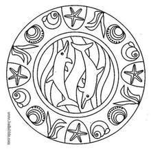 Desenho de um mandala com golfinhos para colorir