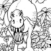 Desenho de um Tiranossauro espantoso para colorir