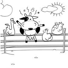 Desenho de uma vaca maluca para colorir online
