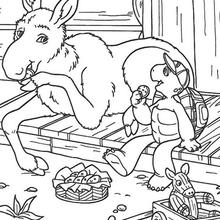 Desenho do Franklin e um burrinho para colorir