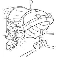 Quincy e foguete - Desenho dos Mini Einstens para colorir